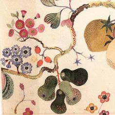 Detail of watercolour design by Josef Frank at the Fashion and Textile Museum in London. So lovely to see his original hand painted designs & private watercolour paintings close up. Exhibition runs until May & in my opinion is well worth visiting. Textile Patterns, Textile Design, Textiles, Watercolor Design, Watercolor Paintings, Art Paintings, Botanical Illustration, Illustration Art, Josef Frank