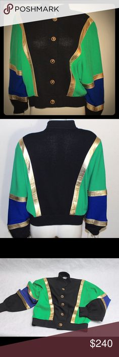 ST Johns gold leather green blue baseball jacket Bright green blue and black jacket intersected with gold leather detailing. Gold buttons. So bad it's good St. John Jackets & Coats