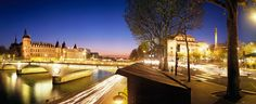 La Conciergerie, le pont Louis Philippe et la place du Chatelet au crépuscule