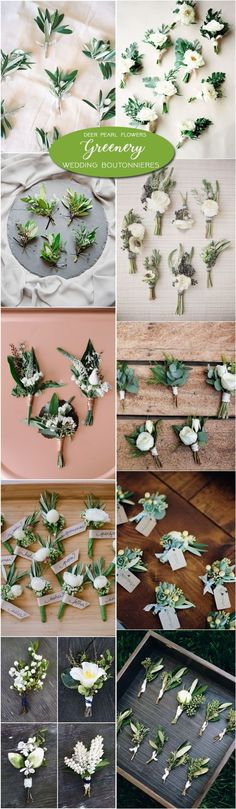 Greenery botanical groom wedding boutonnieres / http://www.deerpearlflowers.com/greenery-wedding-decor-ideas/3/