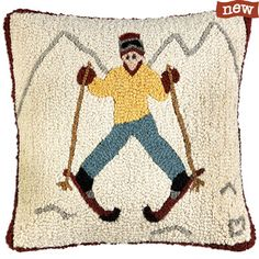 """Just Learning Skier 18"""" Hooked Pillow"""