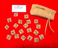 """A genuine leather version of a memory game, yet this one's uniqueness is that the playing pieces are stamped with animal tracks.Includes instructions, 20 1""""x1""""Leather animal track pieces and a 3""""x6"""" quality leather drawstring bag."""