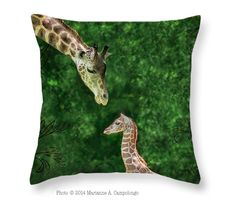 """Momma Loves Me by Marianne Campolongo I love this #giraffe momma and calf. Sold a big 26"""" in square one to a friend for her little nephew to cuddle up on in front of the TV. How cute huh? The covers are a soft to the touch medium weight canvas material so they should  hold up well and they zip off for cleaning.  #kidsroom #artforkids #forkids #zooanimals Save $5 thru 2/15/15 use code RSYBMN Like it? Repin to save for later that way you have the discount code too."""