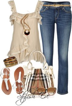 Style for women, outfit idea, denim with pretty ruffled top, white and neutral accessories, feminine!