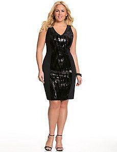 Sequin & velvet sheath dress