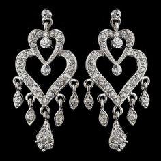 Antique Silver Clear Crystal Rhinestone Chandelier Bridal Earrings 8689