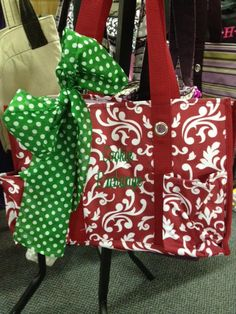 So cute! Red Parisian Pop Organizing Utility Tote with green scarf and embroidery. What a great Christmas bag to carry or give as a gift!