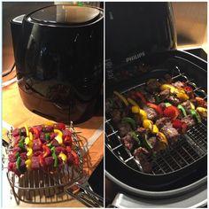Mager recept  Spiesjes rosbief/biefstuk/paprika op rooster met spiesjes (Philips HD9905/00).  Op 180 graden 10 minuten Geen olie of andere toevoegingen gebruikt