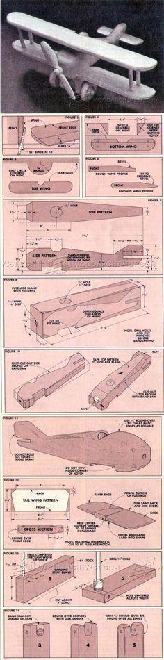 Wooden Biplane Plans - Children's Wooden Toy Plans and Projects Wooden Projects, Wooden Crafts, Wooden Toys, Diy Projects, Project Ideas, Woodworking Toys, Woodworking Projects Diy, Wood Toys Plans, Wooden Truck