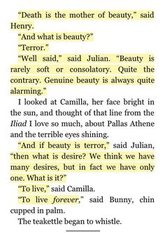 poem quotes beauty is terror // the secret history, donna tartt Poem Quotes, Words Quotes, Wise Words, Life Quotes, Sayings, Qoutes, Pretty Words, Beautiful Words, Phrase Cute