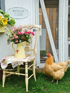 I Love this chair with the doily and tea towel and pitcher of flowers! Beautiful vintage display.