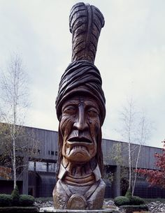 Monument to Sequoyah, carved from a giant sequoia tree in 1989 by Peter Wolf Toth