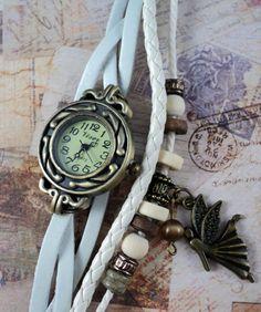 """Romantische Weiße Wickeluhr """"Schutzengel"""" Vintage Guardian Angel Watch www.studiokawaii.de"""