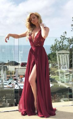A-Line Deep V-Neck Long Open Back Burgundy Prom Dress with Lace Split, Shop plus-sized prom dresses for curvy figures and plus-size party dresses. Ball gowns for prom in plus sizes and short plus-sized prom dresses for A Line Prom Dresses, Homecoming Dresses, Evening Dresses, Formal Dresses, Special Dresses, Graduation Dresses, Wedding Dresses, Popular Dresses, Slimming World