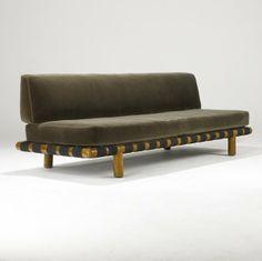 T.H. Robsjohn Gibbings; Walnut Sofa for Widdicomb, 1950s.