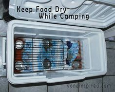 Put ice and soda cans at the bottom. Then put cooling rack over the top to keep food dry!