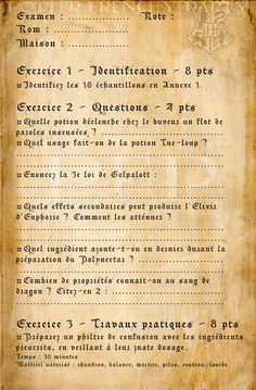 Potter frenchy party - Visuels et illustration Harry Potter sur le web - 11 - Severus Rogue / Snape - printables, props, illustrations - cours de potions à Poudlard - contrôle - examen - hogwarts magic books