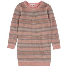 Vestito in maglia a righe in lurex brillante e fodera in maglia