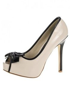 Quiz Nude And Black Patent #Bow High Peep Toes #shoes