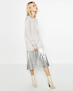 OVERSIZED SWEATER - metallic pleated skirt