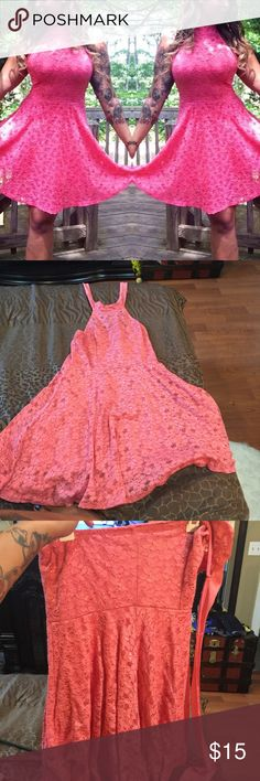 PEACH LACE HALTER DRESS Womans tie around halter dress Size fits womans 12 stretches! Like new No trades Follow Www.instagram.com/stormyxstorm Snapchat:stormyxstorm Www.eastendextensions.com Dresses