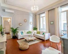 Apartment Interior Design, Interior Design Living Room, Living Room Decor, Teracotta Floor, Blue Furniture, Grey Walls, Home Remodeling, New Homes, House Design