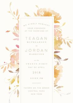"""""""Garden"""" - Floral & Botanical, Rustic Wedding Invitations in Peach by Lori Wemple."""