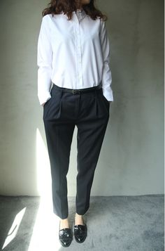 White shirt, black tapered leg trousers, black belt + patent leather black Russell & Bromley brogues