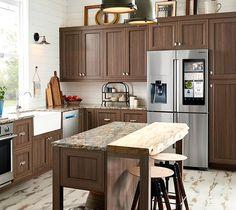 Samsung Family Hub sleek and spacious smart refrigerator in a modern kitchen Samsung Fridge, International Real Estate, Baseboards, Refrigerator, Kitchen Cabinets, Cool Stuff, Interior, Modern, Whistles