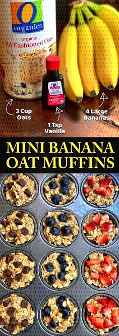 Looking for easy healthy snacks for kids to make? These on the go banana oat muffins are perfect for toddlers, kids AND adults! Just 3 ingredients! Even picky eaters will enjoy these fast little treats. These healthy banana oat muffins are great for schoo Oat Muffins Healthy, Breakfast Healthy, Dinner Healthy, Healthy Breakfast Pregnancy, Breakfast To Go, Healthy Toddler Muffins, Easy Breakfast Muffins, Banana Breakfast Recipes, Healthy Breakfast Recipes For Weight Loss