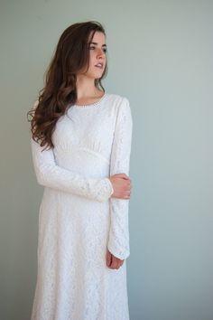 41055d66caa59 Home. Modest White DressModest Wedding ...