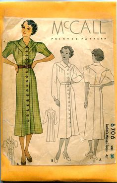 McCall 8706 | ca. 1936 Ladies' & Misses' Dress