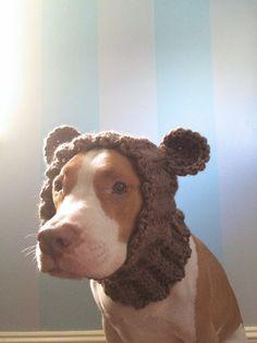 Dog Bear Cowl - Dog Winter Scarf - Dog Halloween Costume - Dog Hats for Dogs - Crochet Dog Clothes - Dog Ear Warmer - Dog Bear Hat