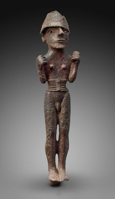 Low-tin bronze with silver male figurine. Near Eastern, Levantine, Syrian. Early Bronze Age. 3200–2800 B.C. | Museum of Fine Arts, Boston