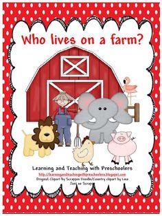 """Who lives on a farm?"" Free pocket chart sorting activity for farm unit Farm Activities, Sorting Activities, Animal Activities, Preschool Farm, Preschool Ideas, Preschool Seasons, Preschool Rules, Transportation Activities, Preschool Centers"