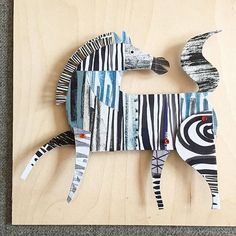 My third attempt at a Zebra, one of the missing animals from my collection. My animals are covered in patterns but because I added too many on my other versions they didn't look like Zebras. Lion King Broadway, Art Du Collage, Collage Techniques, Paper Animals, Art Club, Art Plastique, Elementary Art, Art Education, Altered Art
