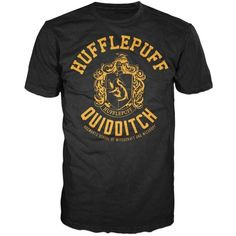 Harry Potter Hufflepuff Quidditch Mens Hogwarts T-shirt ($11) ❤ liked on Polyvore featuring men's fashion, men's clothing, men's shirts, men's t-shirts and mens t shirts