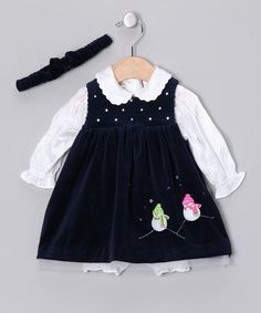 Take a look at this Little Bitty Navy Velour Snowman Dress Set - Infant by Ribbons & Bows: Holiday Dresses on #zulily today!