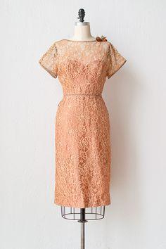 vintage 1950s dark peach lace cocktail dress
