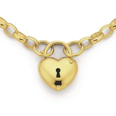 9ct 18.5cm Oval Belcher Bracelet with Heart Padlock | Pascoes The Jewellers
