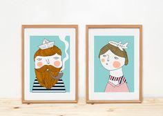 Prints by Depeapa - Bon voyage illustration - 8 x 11.5 - A4 drawing