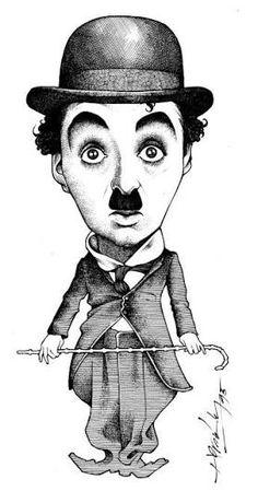 Resultado de imagem para desenho caricatura do charlie chaplin