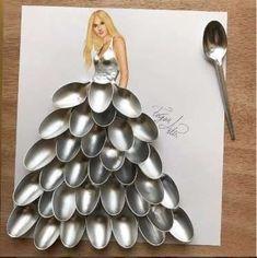 "(Fashion Illustration Art: ""Spoon Couture by Edgar Artis) Fashion Design Drawings, Fashion Sketches, Arte Fashion, Dress Fashion, Illustration Mode, Illustrations, Creative Artwork, Pics Art, Jewelry Branding"
