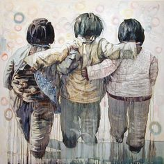 Chinese-born US artist Hung Liu, 'Sister Hoods' (2003) #womensart