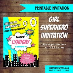 Girl Superhero Editable Invitation by EllieDesignsbyE on Etsy Superhero Invitations, Printable Invitations, Birthday Invitations, Unique Gifts, Handmade Gifts, Paper Goods, Rsvp, Craft Supplies