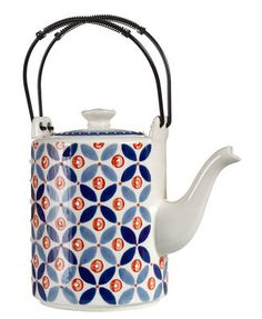 Petal Mix Teapot - Hand painted Blue / Red by Pols Potten - Design furniture and…