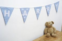 BoYs BLUE PeRsoNaLiSeD bUnTiNg - baby boys present CHRISTENING - £2 per flag