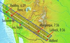 Annular Solar Eclipse of May 20, 2012, MapCredit: StarDate - (sancho_panza/Wikipedia) This map shows the path of 'annularity,' with maximum eclipse (p.m., local time) for sites along the path. Areas outside the path of annularity will see a partial eclipse.