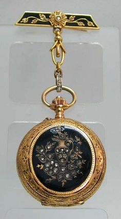 Antique Diamond Enamel 18K Gold Pocket Watch with Pin