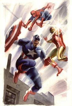 Spider-Man, Captain America & Iron Man by Steve Rude